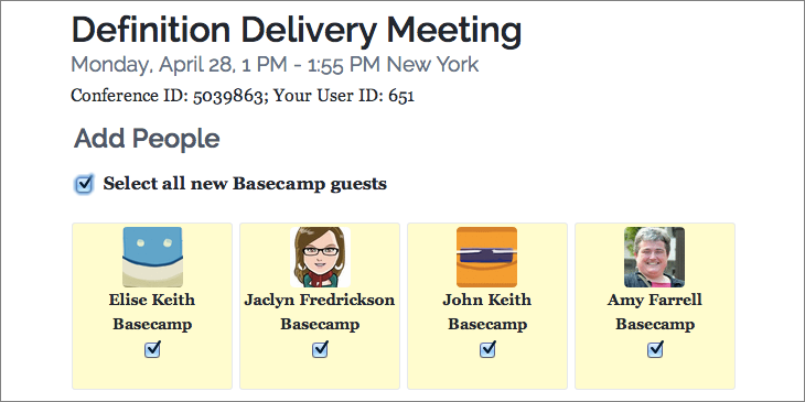 Invite Basecamp users from Lucid Meetings