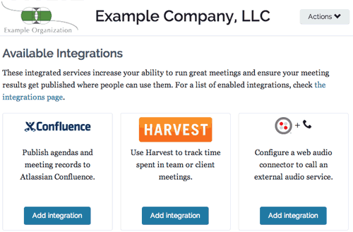 Screenshot showing Add Integrations page for an organization in Lucid Meetings