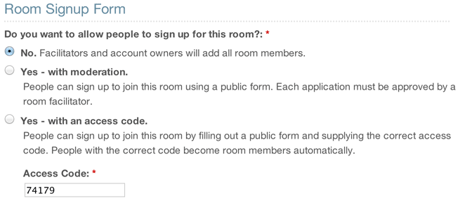 The options for turning on a room signup form