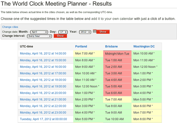 World Clock Meeting Scheduler Screenshot