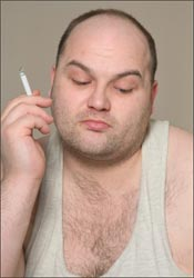 Photo of fat smoker.