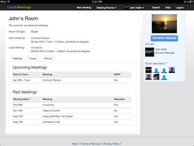 Lucid Screenshot: Meeting Room in the iPad