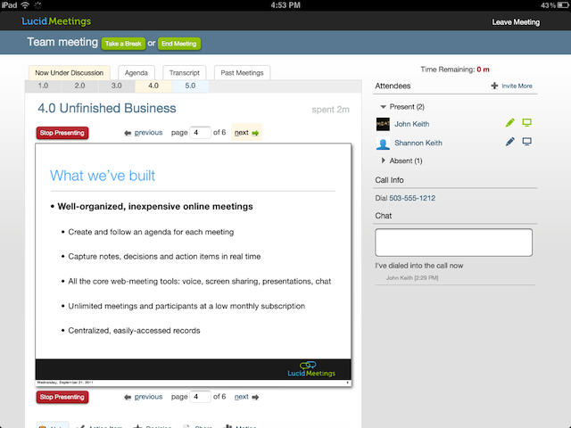 Lucid Screenshot: Running a meeting presentation on an iPad