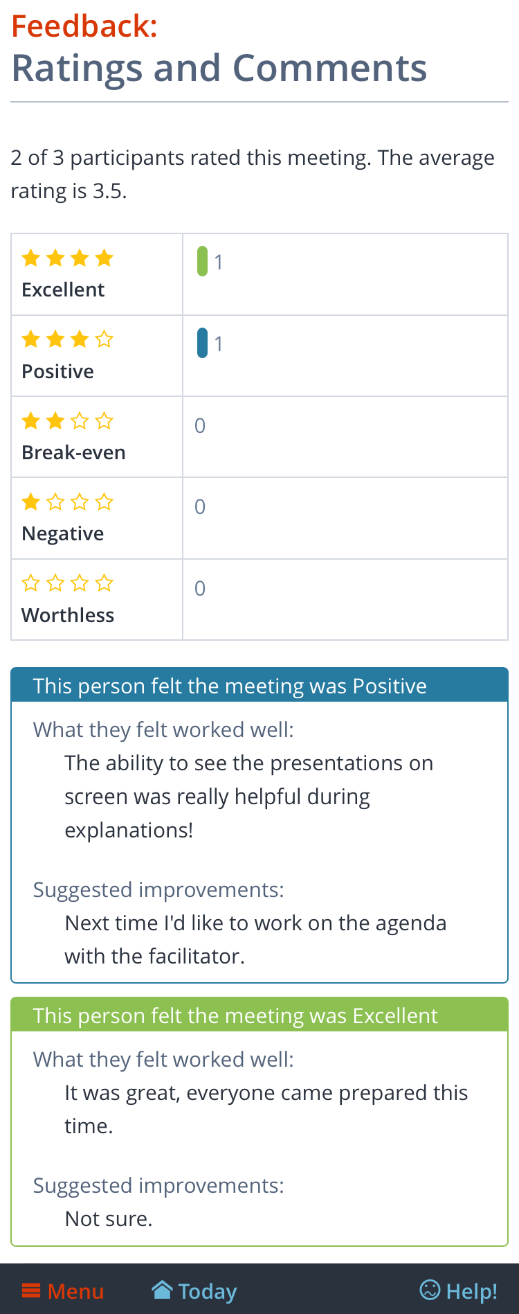 Mobile screenshot: Meeting ratings and feedback shown after the meeting