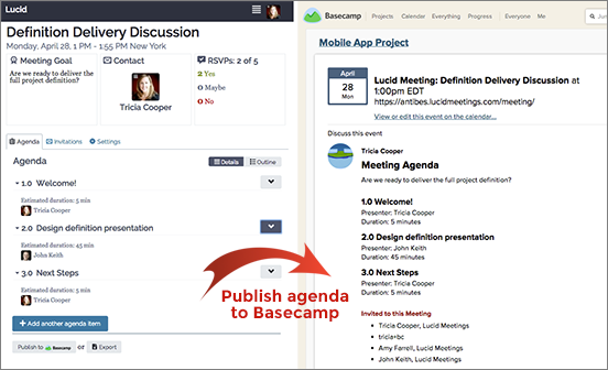 Screenshot: Lucid Meetings appear on the calendar with the agenda attached