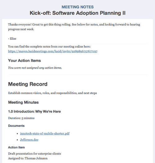 Meeting requests, invitations, and follow-up meeting email