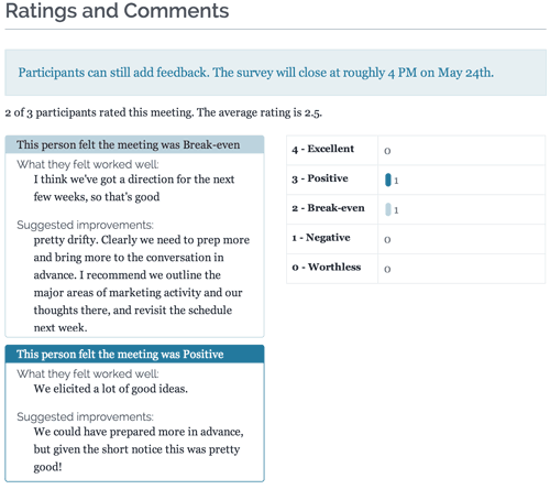 Screenshot showing participant comments and ratings for a meeting