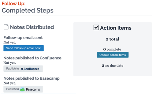 Screenshot showing follow up steps with send email complete, publish to Basecamp not done, and action items not complete