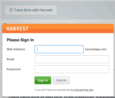 Screenshot showing Harvest login which requires a Harvest website address, registered email address, and password