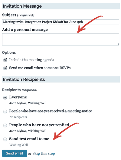 Screenshot showing the form for sending meeting invitations in Lucid Meetings, including options to enter a personal message and send a test email to oneself