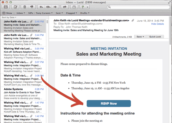 Screenshot showing HTML formatted meeting invitations sent from Lucid Meetings, featuring large clear RSVP button