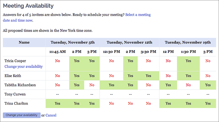 Meeting Availability Poll
